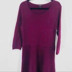 Talbots Plum Long Sleeve Sweater Dress Size Large
